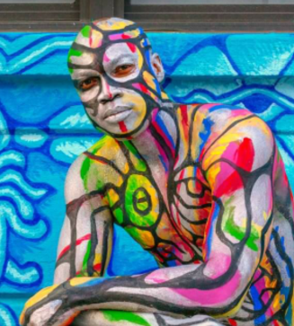 Body painted model and mural by Andy Golub